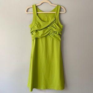Athleta Green Stretch Ruched Athletic Bra Dress